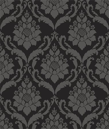 swirly - Black Seamless wallpaper pattern, vector eps 10 Stock Photo - Budget Royalty-Free & Subscription, Code: 400-08786723