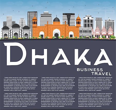 dhaka - Dhaka Skyline with Gray Buildings, Blue Sky and Copy Space. Vector Illustration. Business Travel and Tourism Concept with Historic Buildings. Image for Presentation Banner Placard and Web Site. Stock Photo - Budget Royalty-Free & Subscription, Code: 400-08787358