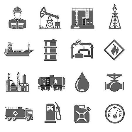 Oil industry extraction production and transportation oil and petrol Black Icons Set with oilman, rig and barrels. Isolated vector illustration. Stock Photo - Budget Royalty-Free & Subscription, Code: 400-08788247