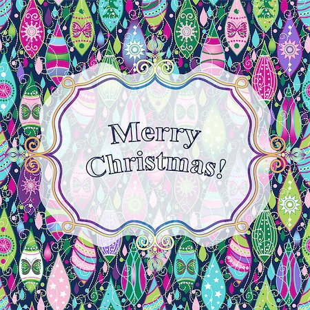 pink and purple fireworks - Christmas colorful greeting card with toys and translucent white label, vector eps10 Stock Photo - Budget Royalty-Free & Subscription, Code: 400-08788543