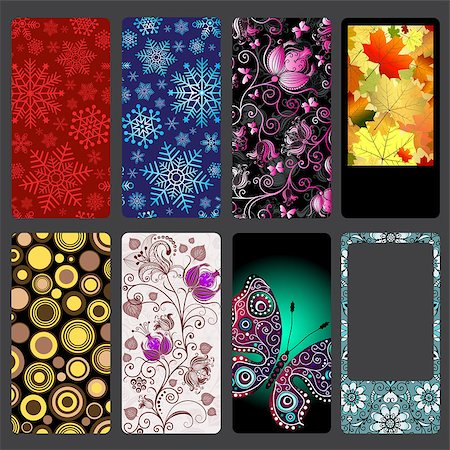 paper blower - Set of colorful dust covers for mobile phone on dark gray, vector eps10 Stock Photo - Budget Royalty-Free & Subscription, Code: 400-08789906