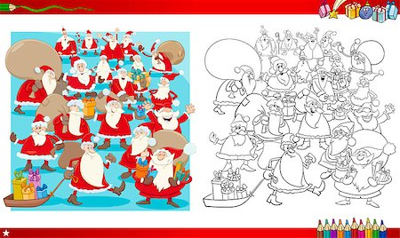 Coloring Book Cartoon Illustration of Santa Claus Characters Group on Christmas Stock Photo - Budget Royalty-Free & Subscription, Code: 400-08794166