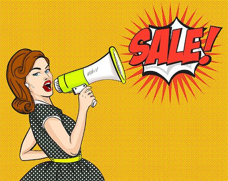 Pop Art. Woman, SALE, discounts sign vector illustration EPS10 Stock Photo - Budget Royalty-Free & Subscription, Code: 400-08794256