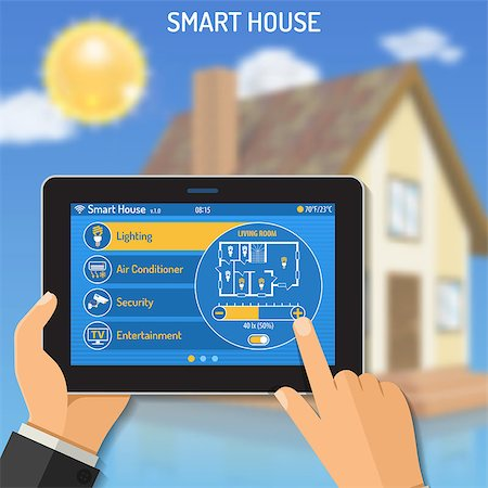 Smart House and internet of things concept Man holding tablet PC similar to ipad horizontal in hand and smart home controls. vector illustration Stock Photo - Budget Royalty-Free & Subscription, Code: 400-08794749