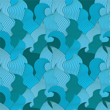 simsearch:400-04638538,k - Color seamless abstract hand-drawn pattern, waves background. Vector illustration.Eps 10. Stock Photo - Budget Royalty-Free & Subscription, Code: 400-08794848