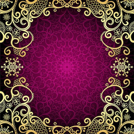 Purple vintage frame with lace mandala in the center and golden curls at the edges, vector eps10 Stock Photo - Budget Royalty-Free & Subscription, Code: 400-08794884