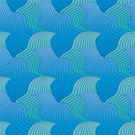 simsearch:400-04638538,k - Color seamless abstract hand-drawn pattern, waves background. Vector illustration.Eps 10. Stock Photo - Budget Royalty-Free & Subscription, Code: 400-08794889