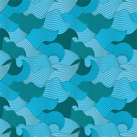 simsearch:400-04638538,k - Color seamless abstract hand-drawn pattern, waves background. Vector illustration.Eps 10. Stock Photo - Budget Royalty-Free & Subscription, Code: 400-08794893