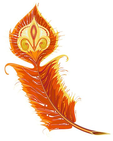 frbird - Red Gold Firebird feather. Isolated on white vector illustration Stock Photo - Budget Royalty-Free & Subscription, Code: 400-08794979