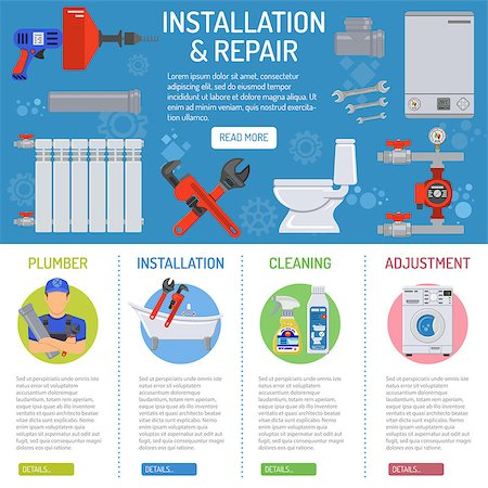 Plumbing Service Installation and Repair infographics with Plumber, Tools and Device Flat Icons. Vector illustration. Stock Photo - Budget Royalty-Free & Subscription, Code: 400-08795320