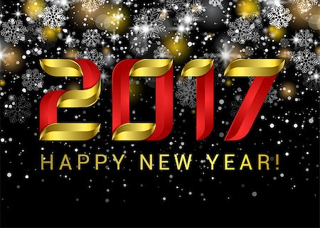 Happy new year 2017. Black space abstraction. Happy new year card. Gold template over black background with golden lights. Vector illustration. Stock Photo - Budget Royalty-Free & Subscription, Code: 400-08795744