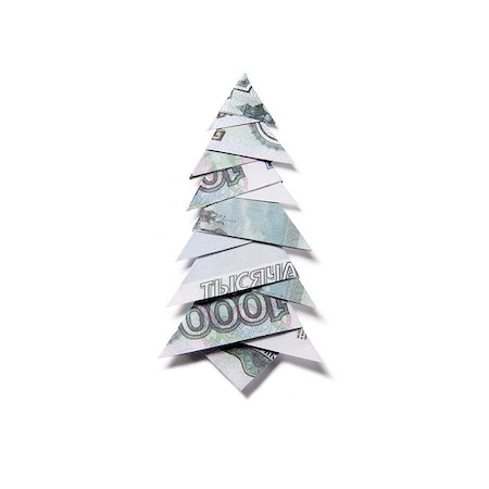 simsearch:400-05936191,k - Christmas tree origami made of banknotes rubles. Handmade Stock Photo - Budget Royalty-Free & Subscription, Code: 400-08790009