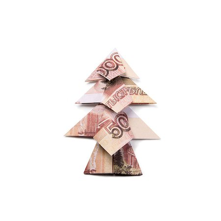 simsearch:400-05936191,k - Christmas tree origami made of banknotes rubles. Handmade Stock Photo - Budget Royalty-Free & Subscription, Code: 400-08790010