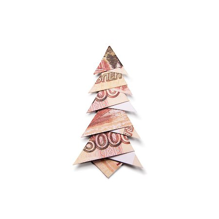 simsearch:400-05936191,k - Christmas tree origami made of banknotes rubles. Handmade Stock Photo - Budget Royalty-Free & Subscription, Code: 400-08790011