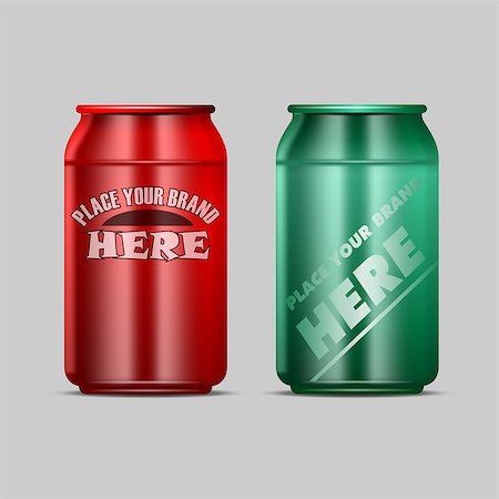 silver box - Vector red and green aluminium beverage drink can mockup ready for your design Stock Photo - Budget Royalty-Free & Subscription, Code: 400-08791120