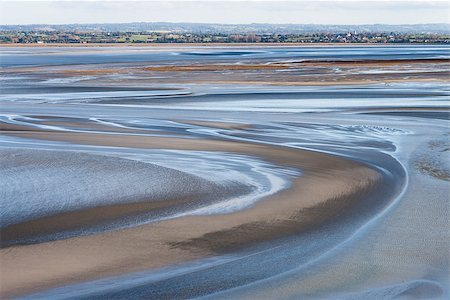 Sea coast at low tide, view from the top of the mount Saint Michael's, France Stock Photo - Budget Royalty-Free & Subscription, Code: 400-08791247