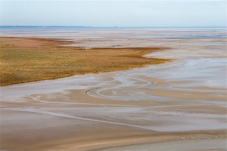 Sea coast at low tide, view from the top of the mount Saint Michael's, France Stock Photo - Budget Royalty-Free & Subscription, Code: 400-08791248