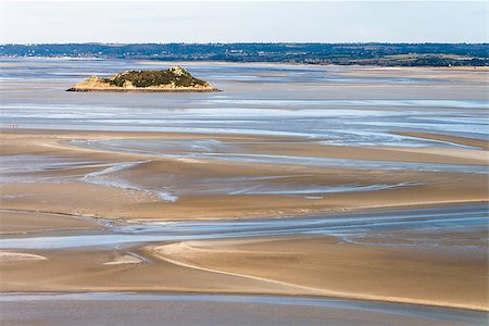 Sea coast at low tide, view from the top of the mount Saint Michael's, France Stock Photo - Budget Royalty-Free & Subscription, Code: 400-08791249