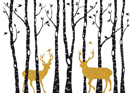 simsearch:400-04399778,k - Christmas card with golden reindeer in birch trees forest on white backround, vector illustration Stock Photo - Budget Royalty-Free & Subscription, Code: 400-08791935