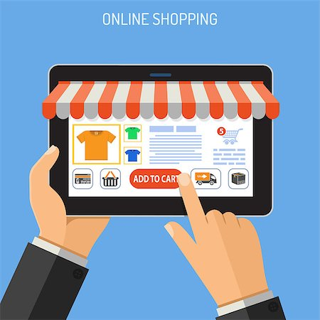 Concepts for Online Internet Technology and Shopping. Man holding tablet in hand, and makes purchase. isolated vector illustration. Stock Photo - Budget Royalty-Free & Subscription, Code: 400-08793211