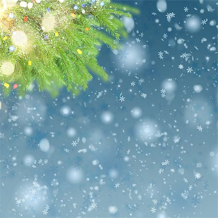 christmas background with fir tree, lights bokeh and snow Stock Photo - Budget Royalty-Free & Subscription, Code: 400-08808041