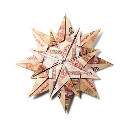 simsearch:400-05936191,k - snowflake origami made of banknotes on a white background. Handmade Stock Photo - Budget Royalty-Free & Subscription, Code: 400-08808419