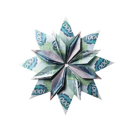 simsearch:400-05936191,k - snowflake origami made of banknotes on a white background. Handmade Stock Photo - Budget Royalty-Free & Subscription, Code: 400-08808424