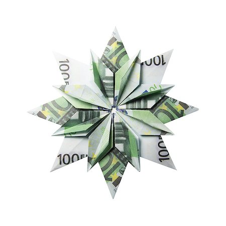 simsearch:400-05936191,k - snowflake origami made of banknotes on a white background. Handmade Stock Photo - Budget Royalty-Free & Subscription, Code: 400-08808428