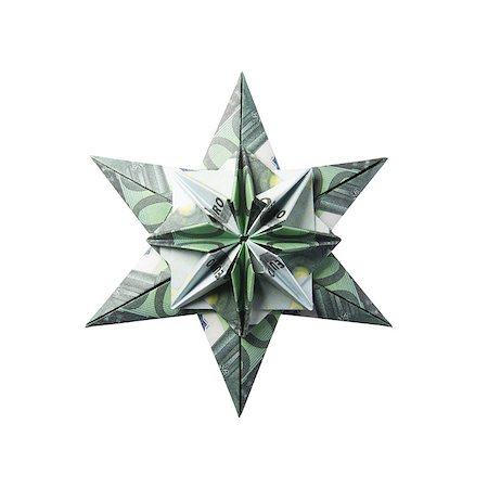 simsearch:400-05936191,k - snowflake origami made of banknotes on a white background. Handmade Stock Photo - Budget Royalty-Free & Subscription, Code: 400-08808429