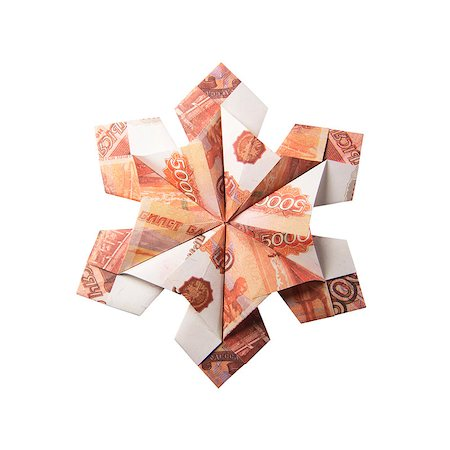 simsearch:400-05936191,k - snowflake origami made of banknotes on a white background. Handmade Stock Photo - Budget Royalty-Free & Subscription, Code: 400-08808420