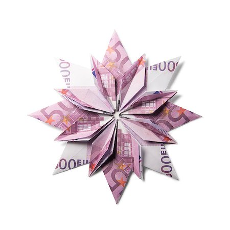 simsearch:400-05936191,k - snowflake origami made of banknotes on a white background. Handmade Stock Photo - Budget Royalty-Free & Subscription, Code: 400-08808421
