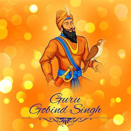punjabi - illustration of Happy Guru Gobind Singh Jayanti festival for Sikh celebration background Stock Photo - Budget Royalty-Free & Subscription, Code: 400-08814744