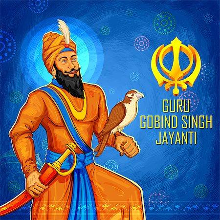 punjabi - illustration of Happy Guru Gobind Singh Jayanti festival for Sikh celebration background Stock Photo - Budget Royalty-Free & Subscription, Code: 400-08814745