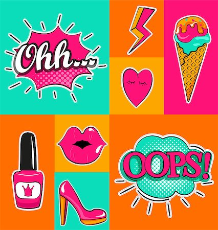 Fashion patch badges with lips, hearts, speech bubbles and other elements. Set of fashion stickers, icons, pins, patches in cartoon 80s-90s comic cartoon style. Vector illustration. Stock Photo - Budget Royalty-Free & Subscription, Code: 400-08816686