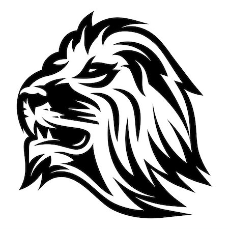 roar lion head picture - monochrome vector pattern with lion's head for a logo or packaging Stock Photo - Budget Royalty-Free & Subscription, Code: 400-08817364