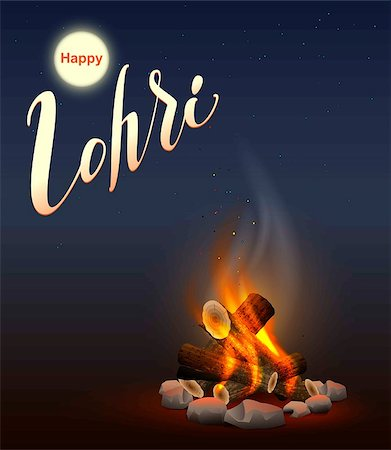 punjabi - Happy Lohri Punjabi festival. Fire burning wood. Illustration in vector format Stock Photo - Budget Royalty-Free & Subscription, Code: 400-08817629