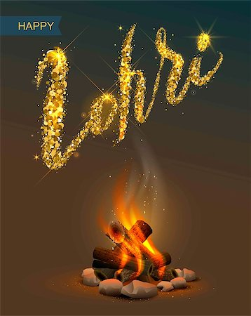 punjabi - Happy Lohri Punjabi festival. Bonfire on dark background and lettering text. Illustration in vector format Stock Photo - Budget Royalty-Free & Subscription, Code: 400-08817631