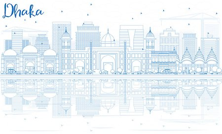 dhaka - Outline Dhaka Skyline with Blue Buildings and Reflections. Vector Illustration. Business Travel and Tourism Concept with Historic Architecture. Image for Presentation Banner Placard and Web Site. Stock Photo - Budget Royalty-Free & Subscription, Code: 400-08818042