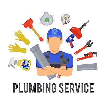 Plumbing Service Concept with Plumber, Tools and Device Flat Icons. Isolated vector illustration. Stock Photo - Budget Royalty-Free & Subscription, Code: 400-08818595