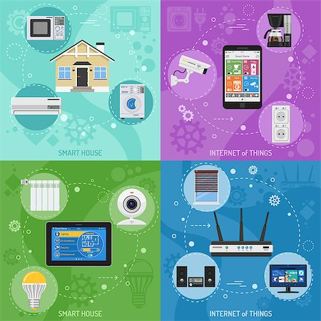 Smart House and internet of things square banners. smartphone and tablet controls smart plug, fridge coffee maker router microwave and tv flat icons. vector illustration Stock Photo - Budget Royalty-Free & Subscription, Code: 400-08818858