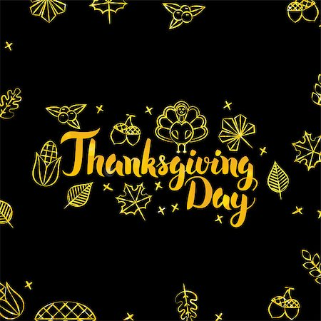 Thanksgiving Day Gold and Black Design. Vector Illustration of Traditional Holiday Calligraphy with Golden Decoration. Stock Photo - Budget Royalty-Free & Subscription, Code: 400-08810167