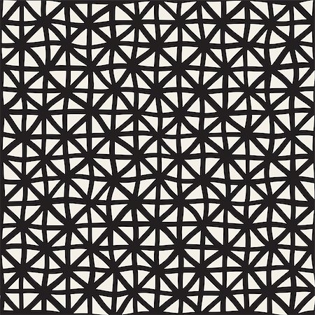 simsearch:400-04476890,k - Wavy Hand Drawn Lines Triangles Grid. Vector Seamless Black and White Pattern.. Abstract Freehand Background Design Stock Photo - Budget Royalty-Free & Subscription, Code: 400-08811015