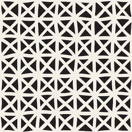 simsearch:400-04476890,k - Wavy Hand Drawn Lines Triangles Grid. Abstract Geometric Background Design. Vector Seamless Black and White Pattern. Stock Photo - Budget Royalty-Free & Subscription, Code: 400-08811033