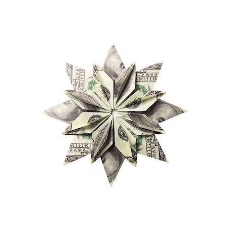 simsearch:400-05936191,k - snowflake origami made of banknotes on a white background. Handmade Stock Photo - Budget Royalty-Free & Subscription, Code: 400-08811369