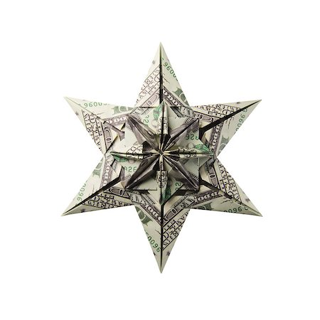 simsearch:400-05936191,k - snowflake origami made of banknotes on a white background. Handmade Stock Photo - Budget Royalty-Free & Subscription, Code: 400-08811370