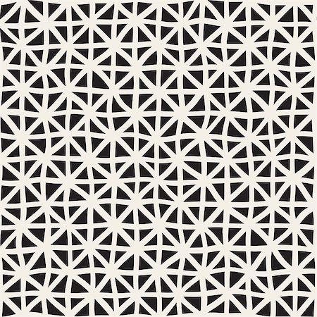 simsearch:400-04476890,k - Wavy Hand Drawn Lines Triangles Grid. Abstract Geometric Background Design. Vector Seamless Black and White Pattern. Stock Photo - Budget Royalty-Free & Subscription, Code: 400-08813714