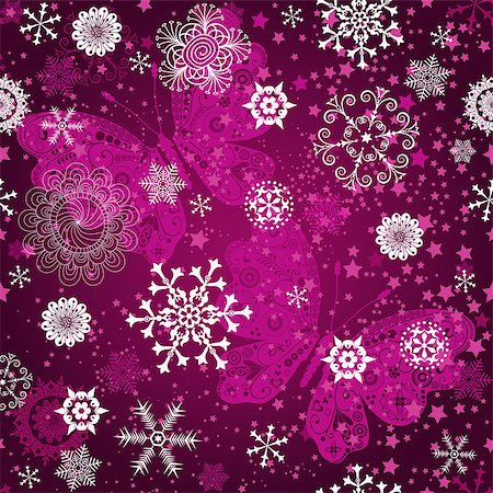 pink and purple fireworks - Seamless purple gradient pattern with snowflakes and vintage pink butterflies, vector Stock Photo - Budget Royalty-Free & Subscription, Code: 400-08813809