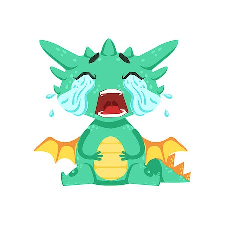 Little Anime Style Baby Dragon Crying Out Loud With Streams Of Tears Cartoon Character Emoji Illustration. Vector Childish Emoticon Drawing With Fantasy Dragon-like Cute Creature. Stock Photo - Budget Royalty-Free & Subscription, Code: 400-08820031