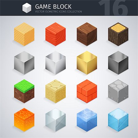 silver box - Isometric colorful material blocks for game project. Vector 3d icons collection. Clipping paths included. Stock Photo - Budget Royalty-Free & Subscription, Code: 400-08820203