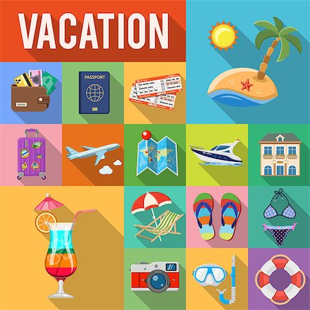 Vacation and Tourism Flat Icons Set with Long Shadow on Square like Boat, Cocktail, Island, Aircraft and Suitcase. vector illustration Stock Photo - Budget Royalty-Free & Subscription, Code: 400-08834308